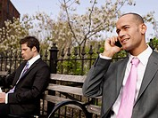 Businessmen on Park Bench