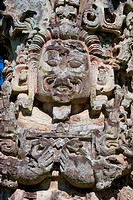 Honduras, Copan Ruins, Mayan Archaelogical Site, Great Plaza, Stela D, Close_Up, Ad 736