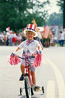 Riding Bicycle in Independence Day Parade