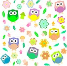 background with spring elements _ owls, mushrooms