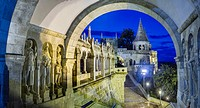 Details of the Fisherman's Bastion Halászbástya, a terrace in neo-Gothic and neo-Romanesque style situated on the Buda bank of the Danube, on the Cast...