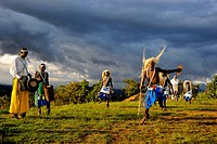 Rwanda, Virunga Area, Volcanoes National Park, Local group performing traditional dancing
