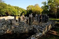 Albania, Near Saranda, Butrint National Park, Babtistery from 6 Century Ad