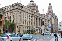 Custom house at the roadside, Hong Kong and Shanghai Bank, The Bund, Shanghai, China