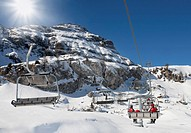 Skilifts in the mountains in Dolomiti