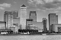 Canary Wharf Financial District, Viewed Across The River Thames, London, England