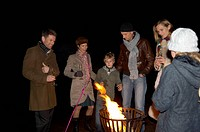 Family Outdoors on New Year´s Eve