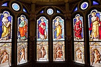 France, Loire Valley, Blois Castle, The Oratory Stained Glass Windows