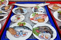 Thailand,Trat Province,Koh Chang,Klong Prao Beach,Beach Front Restaurant Seafood Display