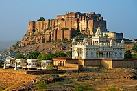 Jaswant Thada Memorial and Meherangarh fort in Jodhpur  Rajasthan  India.