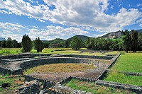 Archeological site showing Roman ruins at Saint_Bertrand_de_Comminges, Pyrenees, France
