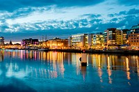 The Liffey riverfront, Custom House Quay at dusk