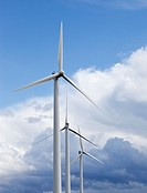 Wind turbines  Location Oulunsalo Riutunkari Finland Scandinavia Europe