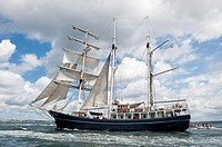 The Thalassa sailing during the 'Tonnerres de Brest 2012' International maritime festival, Brest France