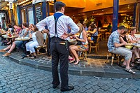 Paris, France, Tourists in French Caf&#233;, Montmartre Area, with Waiter