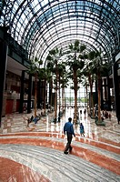 USA, New York City, Manhattan, the Winter Garden of the World Financial Center, Interior View