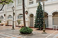 Courtyard with Christmas tree, Hotel Continental, Ho Chi Minh City, Vietnam