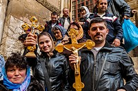 Armenian pilgrims outside the Church of the Holy Sepulchre site of the last five stations of the Cross and venerated as the place where Jesus was cruc...