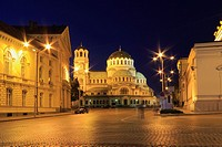 St Alexander Nevsky Cathedral at Night, Sofia, Bulgaria