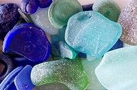Blue and green sea glass Kent Island Maryland USA