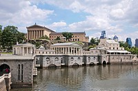 View of graceful neoclassical buildings of The Fairmount Water Works and Art Museum, Philadelphia, Pennsylvania, USA