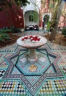 inner courtyard of a restored riad merchant's home in Marrakech, Morocco