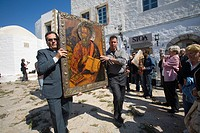 europe, greece, dodecanese, patmos island, chora, orthodox easter time, procession of the icons, icon of st john