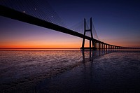 Vasco da Gama bridge at dawn  Lisbon, Portugal