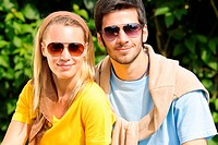 Sportive young couple portrait wear sunglasses sunny