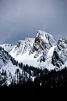 A view of jagged peaks covered in snow in Montana.