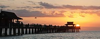 Panoramic view of Naples Pier at sunset, Naples, Florida, USA