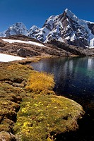 Mountain lake, Cordillera Huayhuash mountain range, Andes, Peru, South America