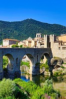 Spain , Catalonia ,Girona Province,Medieval Town of Besalu City, Besalu Bridge
