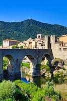 Spain , Catalonia ,Girona Province,Medieval Town of Besalu City, Besalu Bridge