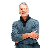 Portrait of happy senior man with hands folded on white background _ Copyspace