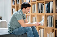 Man reading an electronic book