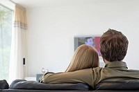 Rear view of a couple watching television