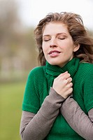 Close-up of a woman shivering (thumbnail)