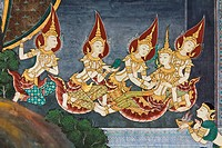Art thai painting on wall in temple wat phra kaeo