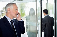 Businessman talking on a mobile phone in an office