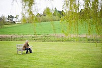 Man sitting on a bench in a field