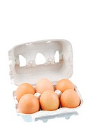half dozen fresh eggs in a recycled box isolated on white background