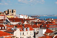 beautiful cityscape of Lisbon with Sé Cathedral