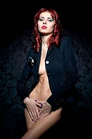 beautiful naked woman in a jacket