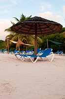 beach chairs and umbrella on a tropical beach resort in Antigua sunset picture