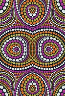 Orange and purple circle mosaic design