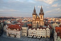 View of church and city square, Tyn Church, Old Town, Prague, Czech Republic, march