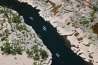 People canoeing on river, River Ardeche, Ardeche, Rhone_Alpes, France, may