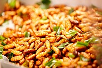 Fried silk worm larvae at a market in Thailand