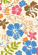 Colorful tropical flower design on cream background